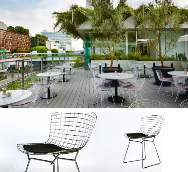 世界展開しているレストラン様のテラス席